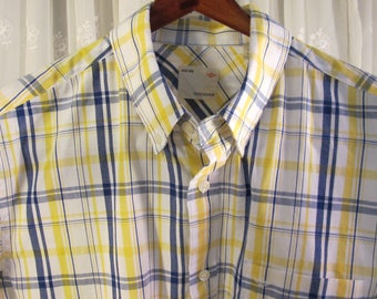 Vintage 90's men's Dockers  button down blue white and yellow short sleeve cotton shirt L