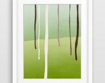 Tree Art, Forest Print, Woodland Decor, Rustic Wall Decor, Abstract Art Print, Minimalist Wall Art, Green Art, Nature Artwork