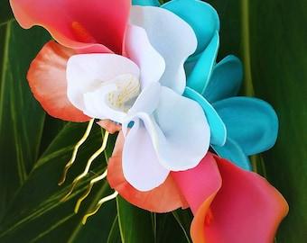 WEDDING HAIR FLOWERS, hair accessory, Silk flower, comb, hair clip, Beach Bridal headpiece, Turquoise plumeria, coral calla lilies, Hawaiian