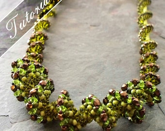 Left Handed Draconis Spiral Stitch Necklace Pattern, Ridged Spiral using Super Duo Beads, Step by Step with Detailed Diagrams and photos