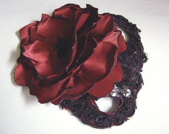 Black and Dark Red Steampunk Hair Accessories - Floral Hair Fascinator-Black and Red Bridal Accessory-  Alternative Wedding Hair accessories