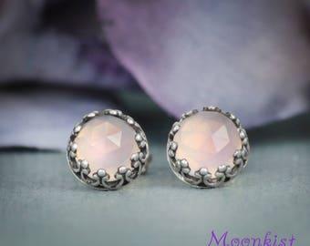 Pink Stud Earrings, Pink Chalcedony Stud Earrings, Filigree Silver Stud Earrings, Gemstone Earrings, Stud Earrings for Women, Rose Cut, 6mm