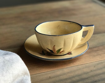 Vintage Mexican Stoneware Teacup and Saucer