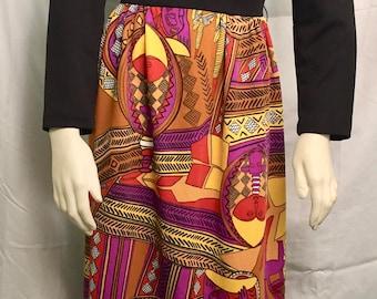 African print knit maxi dress boho 1970s
