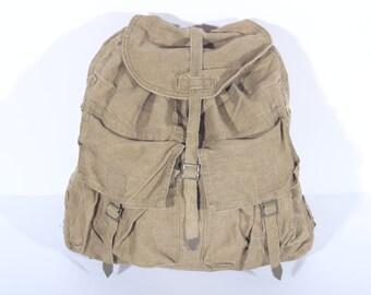 Vintage Canvas Military Backpack, Army Green Rucksack, Expedition Canvas Backpack, Army Canvas Rucksack, Travel Bag, Tourist Vintage Bag