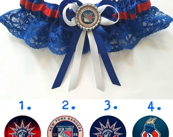 New York Rangers Ice Hockey Satin/satin and lace Garter/Garter Set-Your choice of embellishment.