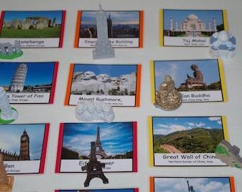 World Landmarks & Monuments Montessori 3-part cards or matching activity