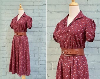 1970s burgundy floral day dress / 70s red floral midi dress / 1970s cotton floral dress