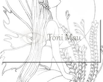 Adult coloring page, Fairy, Fantasy
