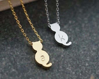 Personalized Kitty Cat Necklace, initial Necklace, Dainty letter necklace, monogram jewelry, Bridesmaids gift Weddings Christmas gift