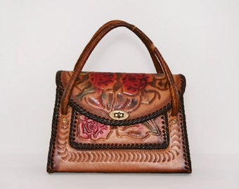 Hand Painted Bag. Hand Tooled Leather Purse. 50s Western Handbag. Tooled Leather Bag. Rockabilly Handbag. Painted Leather Bag.