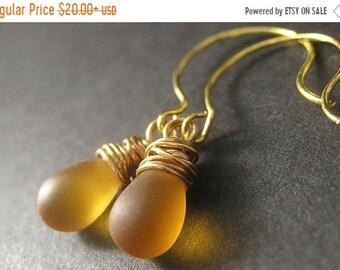 SUMMER SALE Amber Earrings. Teardrop Earrings. Gold Wire Wrapped Earrings in Frosted Amber. Handmade Earrings.