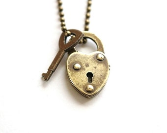 Vintage Miniature Lock and Key Necklace / Padlock Necklace . Tiny Lock and Key . mini padlock . small padlock . small heart lock
