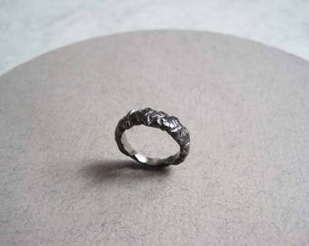 Oxidised solid silver carved rock ring
