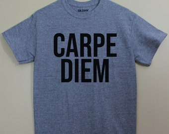 Carpe Diem Seize the Day Latin Shirt Latin Saying Latin Major Tshirt Graphic Tee T-Shirt Shirts with sayings Cotton Polyester