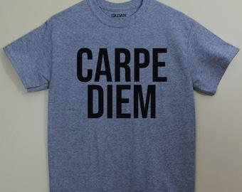 Carpe Diem Seize the Day Latin Shirt Latin Saying Latin Major Tshirt Graphic Tee T-Shirt Shirts with sayings Cotton Polyester
