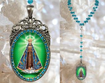 Rosary of Our Lady of Aparecida Brazil Patroness Padroeira do Brasil Handmade  Necklace Catholic Christian Religious Jewelry Medal Pendant