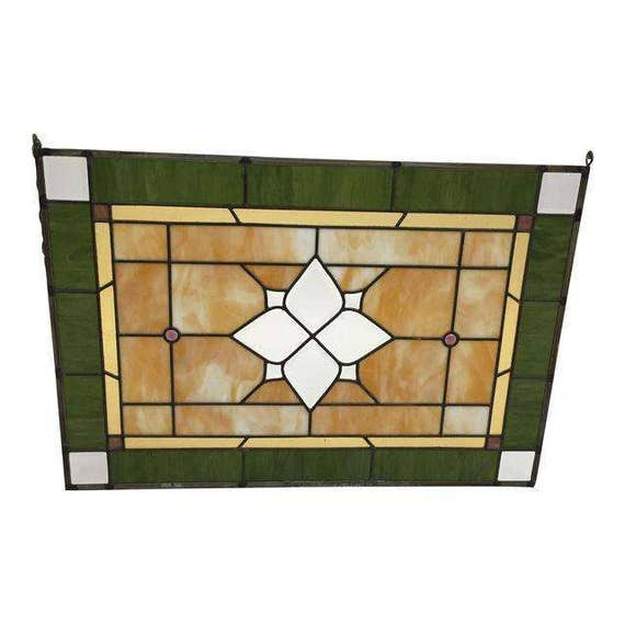 Antique Stain Glass Window Green & Yellow