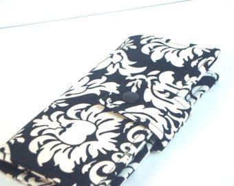 Fabric Checkbook Cover, Checkbook Holder Cash Holder - Black and White Damask