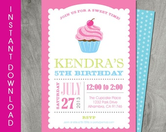 Cupcake Invitation, Self Editable, Instant Download, Birthday Party Printable, Personalize, Diy, Girl Party, Baking Party, Backside Included