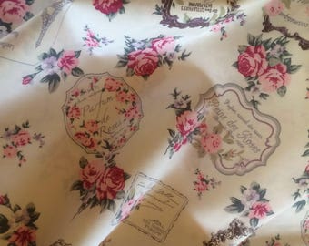 Summer Paris Romance Fabric in Ivory with pink roses