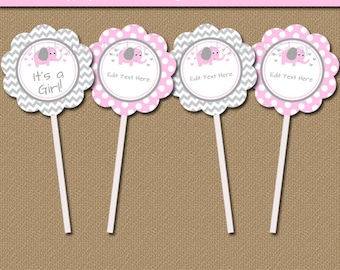 Pink Elephant Baby Shower Cupcake Toppers - Girl Baby Shower Party Decorations - Gray Chevron Baby Shower Cupcake Picks Instant Download