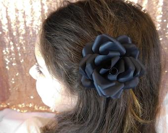 Flower Girl Hair Clip - Flower Hair Clip - Paper Flower Hair Clip - Black Paper Flower - Black Flower Hair clip - Wedding Flower Hair Piece