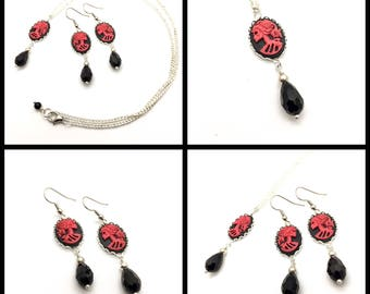Red and Black Skeleton Girl Cameo Jewelry - Earrings and Necklace Set