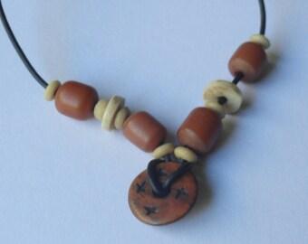 "Vintage Brown & Black Beaded Necklace (24"")"