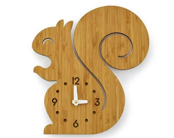 SQUIRREL - Bamboo Wall Clock - Children's Room Decor - Nursery Decor - Baby Shower Gift - Simple Wall Clock - Forest Animal - Cute Decor