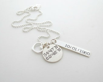 Custom Coordinates Necklace - Personlaized Longitude Latitude - Heart - Location - Engraved GPS - Hand Stamped - Bar Necklace - Couples