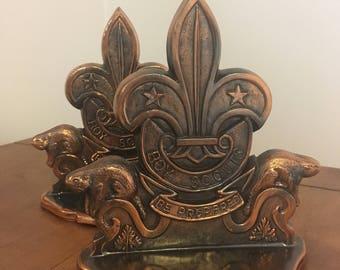 Vintage Boy Scouts of Canada Bronze Trefoil Bookends
