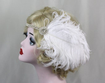 Great Gatsby Headband, Champagne Pearl, Bridal Head Piece, White Feather Fascinator, 1920's Flapper, Crystal Head Dress,  Batcakes Couture