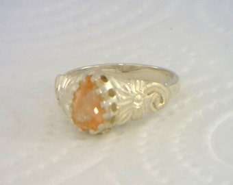 Peach Oregon Sunstone Flower of Angels Handmade 925 Silver Ladies Ring size 7.25