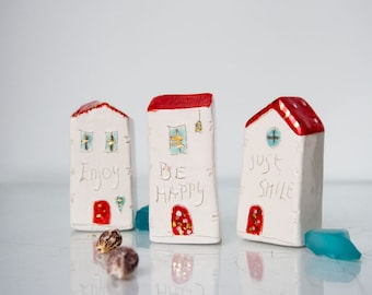 Mini HOUSES / Just Smile / Be Happy / Enjoy /Christmas Gift / Home Decor / Small House / Ceramic House with gold