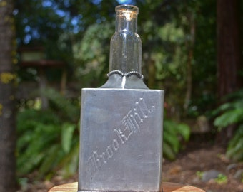 Antique Liquor Bottle Encased in Pewter, Patent Date 1882