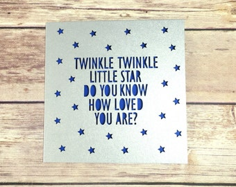 Twinkle Twinkle Little Star, Nursery Rhyme Papercut Card, Baby Card, 1st Birthday Card, New Baby, New Arrival, Baby Gift, Baby Girl Baby Boy
