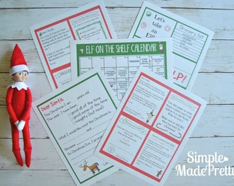 PDF: Elf on the Shelf Activity Pack, Elf on the Shelf 30-Day Activity Calendar, Elf on the Shelf props, Elf on the Shelf letter