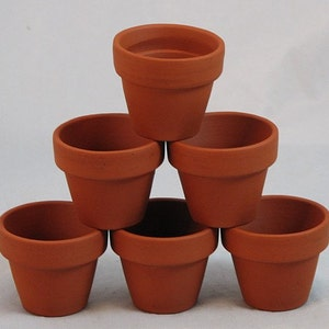 "10 - 2.5"" x 2.25"" Mini Clay Pots - Great for Plants and Crafts"