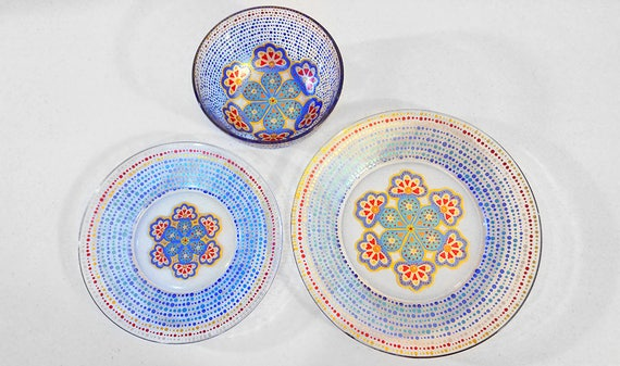Moroccan Dinnerware Hand Painted Glassware Pretty Dinnerware Mandala Eclectic Contemporary Mediterranean Dining Set Plates Dishes & Moroccan Dinnerware Hand Painted Glassware Pretty