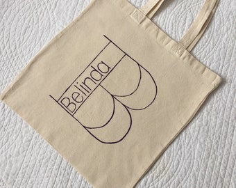 Personalised initial canvas tote bag