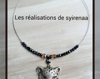 Necklace cat Tiger silver metal