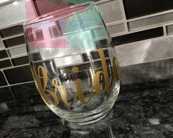 Bride Stemless Wine Glass
