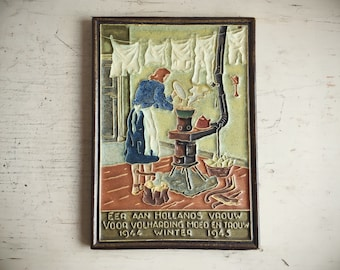 Rare Cloisonne Tile Vintage Delft De Porceleyne Fles War & Resistance The Stove 1944 1945