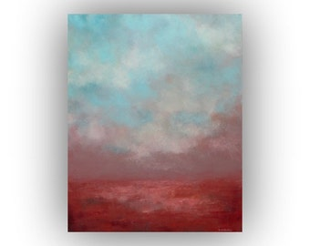 Abstract Landscape Oil Painting, Blue Red and Pink Sky and Clouds Art on Canvas, Original 16 x 20 Palette Knife Painting