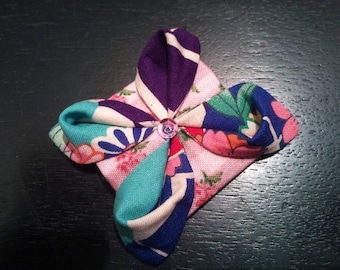 Pink, turquoise and Navy lotus flower origami brooch