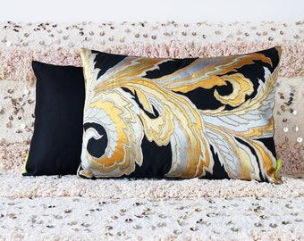 Gold Silver Pillow, Black Silk Kimono Cushion, Vintage Japanese Obi Pillow, Upcycled Antique Textile, Oriental Asian Decor Luxury Eco Gift