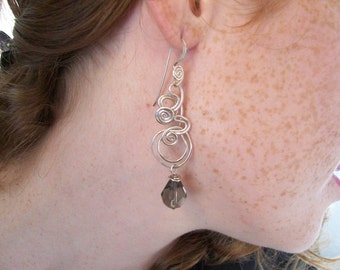 Sculptural Earrings in Argentium Sterling Silver, Custom Made to Order, your choice of bead color
