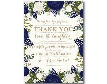 Vintage Wedding Thank You Card, Fall Wedding, Vintage Floral, Floral Wedding, Vintage Wedding, Wedding Thanks, Wedding Thank You Card #CL128