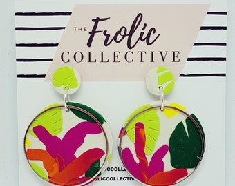 Circle Dangles / Polymer Clay / Tropical Vibes 920